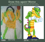 Draw this again meme: Vector the Crocodile by Gothicraft