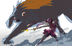 Pink vs Giant Monster by C--O--R--A