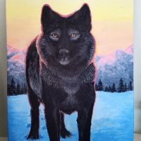 black wolf painting by ricenator