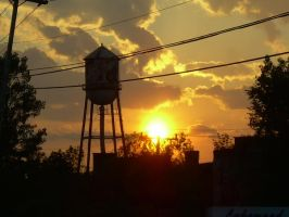 Sunset over Watertower by Retro-Sorrento