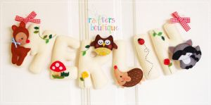 Woodland Animals Name Garland....For Merlin by bibiluv