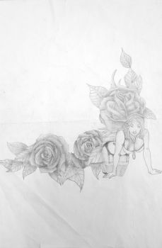 Roses and Woman Tattoo Design by ProTxtics