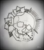 LAST BREATH tattoo flash OUTLINE skull roses by oldSkullLovebyMW