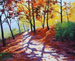 Autumn Trail Painting by artsaus