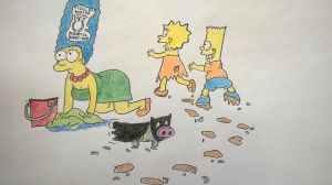Simpsons and Batpig by PsychoticBunny2010