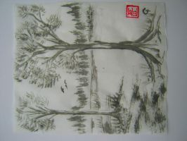 Trees in Sumi-e by Iolii