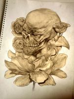 Skull and Flowers by LASAHIDO