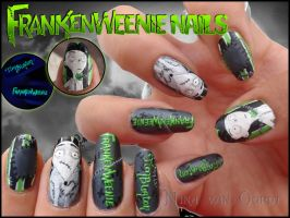 Frankenweenie nails by Ninails