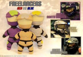 Red vs Blue Freelancer Plushies by s-k-roberts