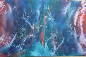 Abstract blue diptych-no. 2 by pfeight