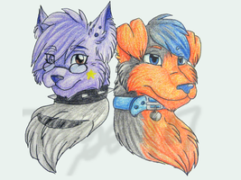 Flossie and Velcrow headshots by HollieBollie