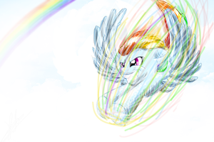 Rainbow Dash - Just a bit more for Sonic Rainboom by katie-the-fox