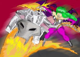 Morrigan vs The Ghost Rider by Batzarro