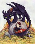 Toothless and Hiccup by CorinneRoberts