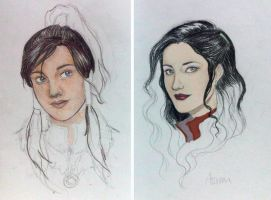 Korra and Asami WIP by Bleunite