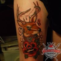 Alex Neo Traditional Stag by HammersmithTattoo