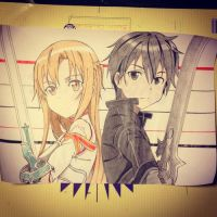 Asuna and Kirito by Karina-o-e