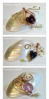 Wire Wrapped Bronze Glass Heart Pendants Set by Drakarus