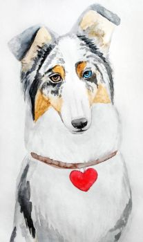 Dog with heart by Olya19