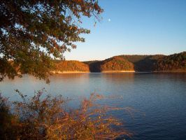 Autumn Moon Over the Lake by Mistshadow2k4
