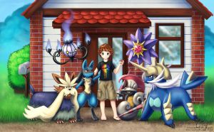 Commission: Ryanson209 and His Pokemon Team by LaurenMagpie