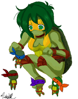 Playing with Chibi Turtles by nichan