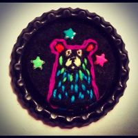 Neon Grizzly Bear Pin by inkpensandneedles