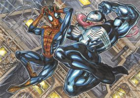 Spider Man and Venom Sketch Card puzzle by AHochrein2010