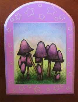 glitter mushrooms by thewhocaresgirl