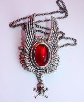 Ruby red necklace by Pinkabsinthe