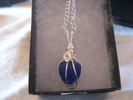 Blue Sea Glass Wire Wrapped Necklace by Katlynmanson