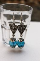Silver Triangle Blue Crystal Earrings by Clerdy