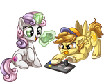 Whinny City: Sweetie Belle and Mustard Mark by Sciggles
