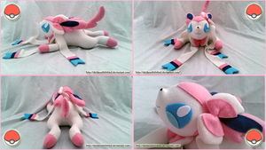 Large Sylveon Plush by Deidaraslittlebird