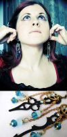 Steampunk earrings Clock hands by Verope