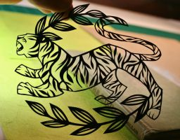 Vine Tiger PAPER CUTTING by Snowboardleopard