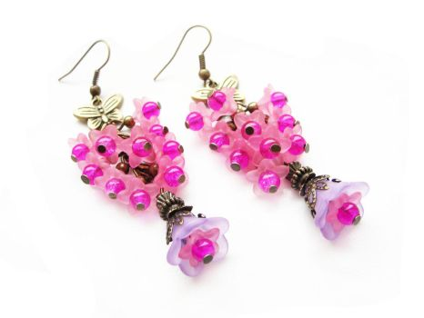 [FOR SALE] Pink floral earrings by Benia1991
