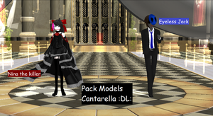 Model's cantarella Eyeless Jack y Nina the killer by mokathekiller