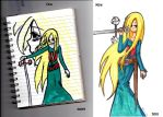 woman with sword Old vs New by IduChan