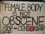 NOT OBSCENE side of sign by Alvyna