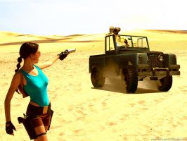 Lara Croft and jeep by TanyaCroft