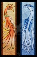Pkmn - Ho-oh Lugia Bookmarks by Talianora