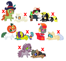 Chibi Pony Halloween Adoptables {3/10 OPEN} by 9-ToyBonnie