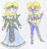 Toon Zelda and Sheik- My style by FoxBluereaver