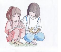Chihiro and Haku Practice by axellie