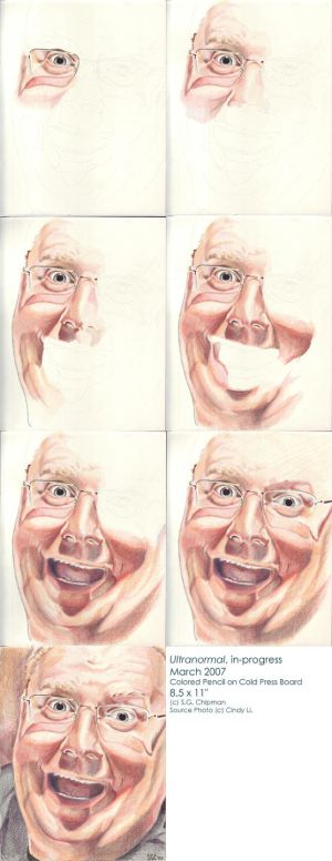 In progress scans of colored pencil drawing Ultranormal