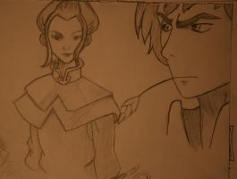 Doodles: 3 - Azula and Jet by Gingerspine