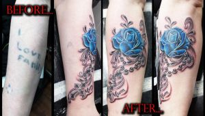 Blue Rose cross and rosary beads cover up by Ashtonbkeje