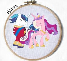 Shining Armor and Cadence cross stitch pattern MLP by JuliefooDesigns