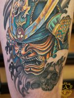 Samurai Mask Tattoo done by Sean Ambrose by seanspoison